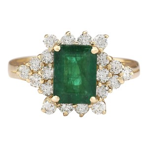 Fashion Strada 2.05 CTW Natural Emerald And Diamond Ring In 14k Yellow Gold