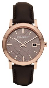Burberry 100% NEW Burberry Men's BU9013 Large Check Brown Leather Strap Watch