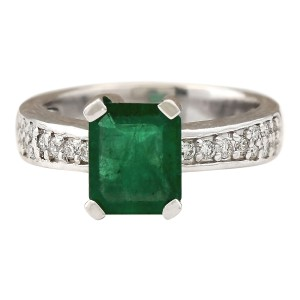 Fashion Strada 2.06 CTW Natural Emerald And Diamond Ring In 14k White Gold