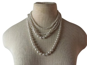Anthropologie Classic white Pearl Four multi Strand Necklace