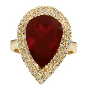 Fashion Strada 4.71CTW Natural Fire Opal And Diamond Ring 14K Solid Yellow Gold