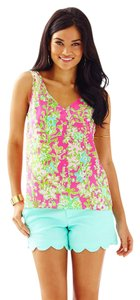 Lilly Pulitzer Southern Charm Cipriani Silk Top Neon Pink