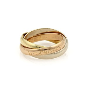 Cartier Trinity 18k Tri-Color Gold 3mm Rolling Band Ring Size EU 53-US 6.75