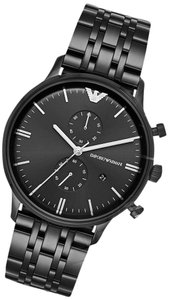 Emporio Armani NEW Emporio Armani AR1934 Men's Black IP St Steel Chronograph Watch