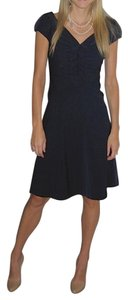 Diane von Furstenberg Ruffle Pleated A-line Cap Sleeve V-neck Dress