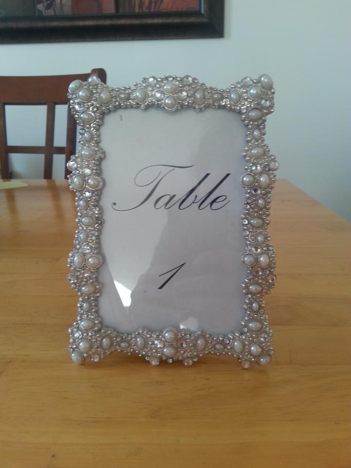 Preferred Silver Rhinestone Pearl Jeweled Sparkle Table Number Frames  QL37