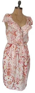 Anthropologie short dress MULTI Summer Abstract Print Ruffle Exposed Zipper Printed on Tradesy
