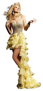 Sherri Hill High Low Yellow Pageant Gown Cocktail Dress
