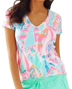 Lilly Pulitzer T Shirt OUT TO SEA- white multi pink blue mint