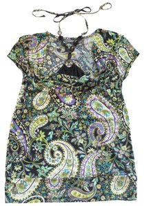 Apt. 9 Beaded Paisley Floral Draped Green Halter Top
