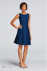 David's Bridal Marine/Navy Short V-back Mikado Dress With High Neckline Dress