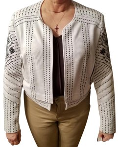 Peter Nygard White with black Embroidery Jacket