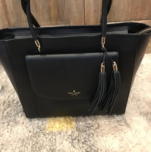 Kate Spade Tassels Gold Hardware Great Storage Leather Zipper Closure Tote in Black