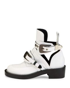 Balenciaga Leather Buckle Designer Moto White Boots