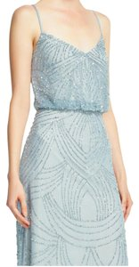 Adrianna Papell Silver/Gray Beaded Blouson Formal Bridesmaid/Mob Dress Size 14 (L)