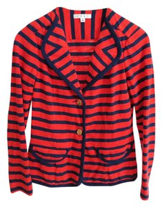 CAbi Stretchy Nautical Striped Fitted Navy & Red Jacket