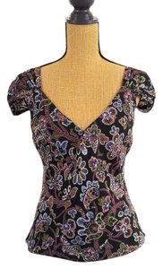 Jones New York Silk Floral 2 In 1 Cap Sleeves V Cut Top Black,blue pink,green