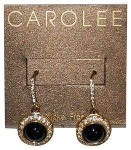 Carolee Nickel free gold tone clear crystal black drop earrings