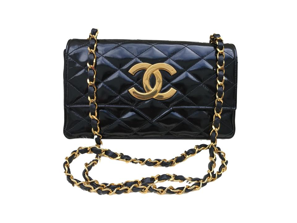 f15abeb7 Chanel Vintage 1986 Flap with Jumbo Double Cc Black Patent Leather Shoulder  Bag 75% off retail
