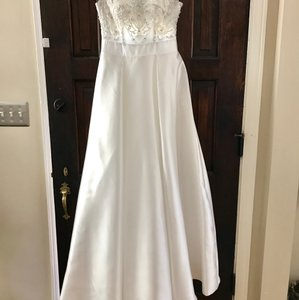 New Illusion Beaded Top A Line Satin Skirt Wedding Gown Size 6 Wedding Dress