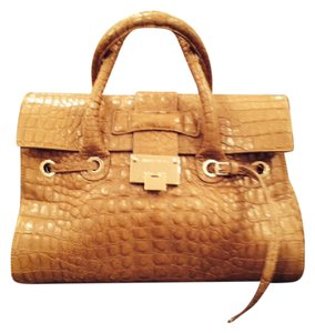 Jimmy Choo Leather Satchel in Nude/with gold hardware