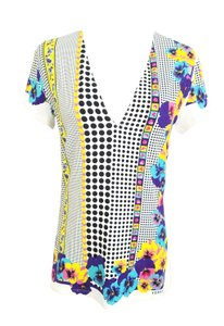 Versace Floral Print Vneck 2011 Summer T Shirt Pink, purple, black,white