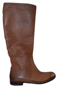 Prada Knee High Grained Leather Cognac Brown Boots
