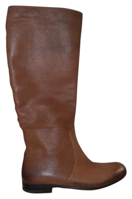 Item - Cognac Brown Brushed Leather Tall Flat Riding Knee High Boots/Booties Size EU 37.5 (Approx. US 7.5) Regular (M, B)