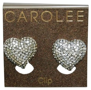 Carolee Silver tone clear crystal heart clip