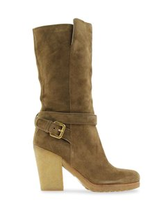Prada Knee High Grained Leather Brown Boots - item med img