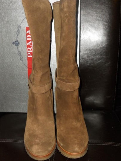 Prada Knee High Grained Leather Brown Boots