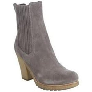 Prada Knee High Grained Leather Brown Heels Grey Boots