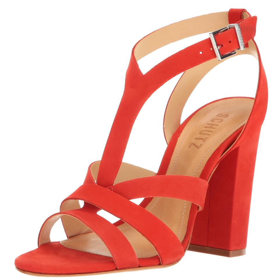 eb98da95972ac SCHUTZ Red Veggy Block Heel Sandals Size US 10 Regular (M