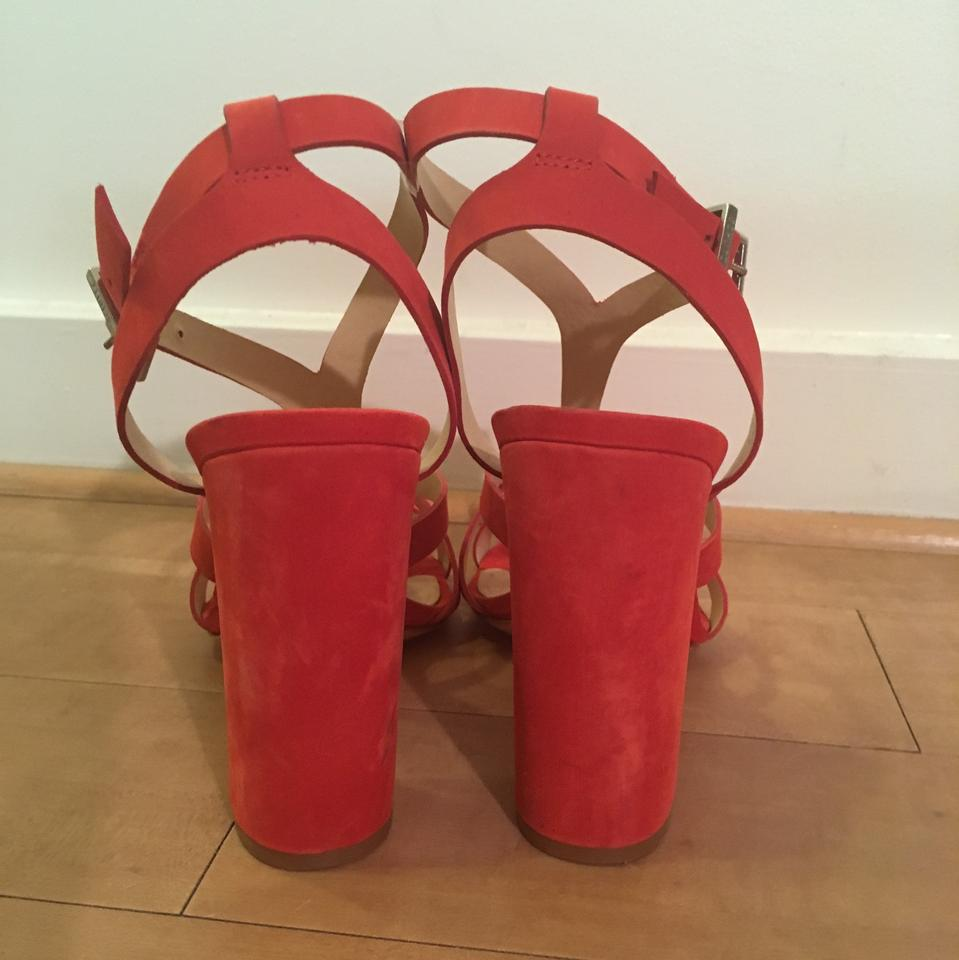 87e260a42908 SCHUTZ Red Veggy Block Heel Sandals Size US 10 Regular (M