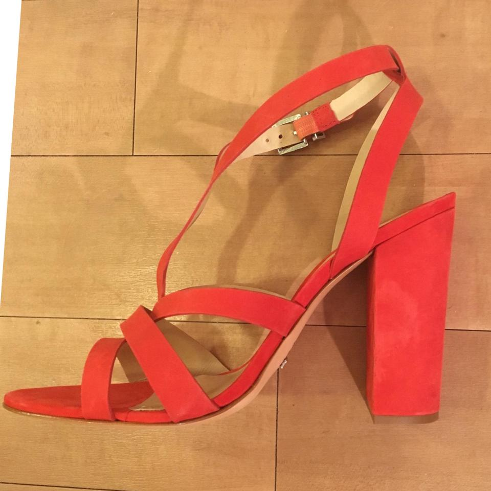 278d8d86ec14 SCHUTZ Block Heel Strappy Red Sandals Image 10. 1234567891011