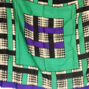 Adrienne Vittadini geometric green purple black and white Adrienne vittadini 100% wool scarf square large