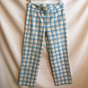 Ann Taylor LOFT Capri/Cropped Pants Blue White Yellow