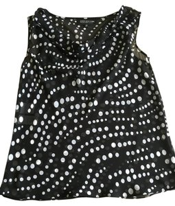 Jones New York Sheer Polka Dot V-neck Flowy Shell Top Black