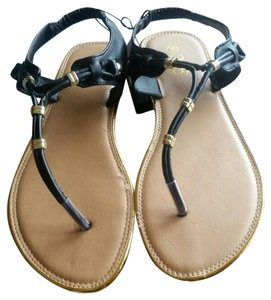 385 Fifth Black and gold Sandals