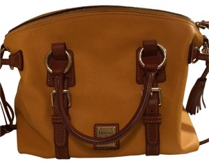 Dooney & Bourke Satchel in mustard yellow & cognac leather