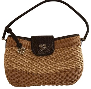 Brighton Tote in light brown dark brown and medium brown weaving and Brighton brown multi colored interior