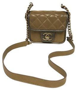 Chanel Calfskin Leather Quilted Metallic Cross Body Bag
