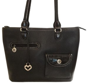 Brighton Tote in Black leather with silver Brighton hearts and buckles