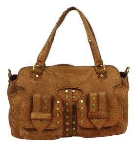 Botkier Camel Studded Grainy Leather Hobo Bag