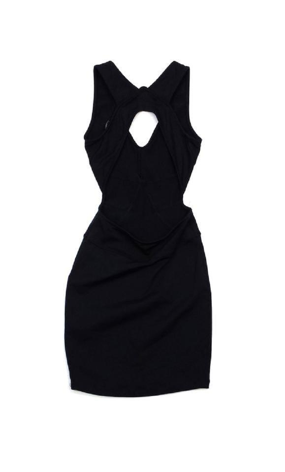 David Lerner Black Halter Neck Bodycon Short Casual Dress Size 0 Xs