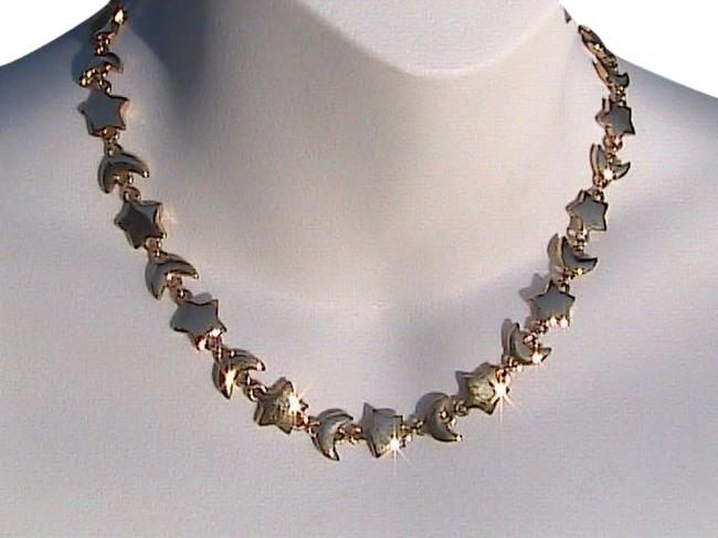 Vintage Gold Tone Moon & Star Choker Necklace Vintage Gold Tone Moon & Star Choker Necklace Image 1