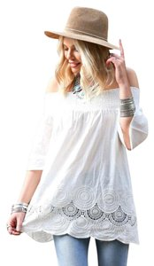 B Sharp White Lace Top Ivory