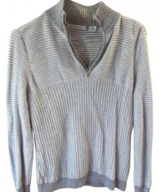 Preload https://item2.tradesy.com/images/liz-claiborne-gray-and-white-stripes-long-sleeve-with-zipper-at-throat-sweaterpullover-size-10-m-21171-0-0.jpg?width=400&height=650