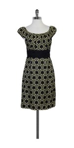 MILLY short dress Black & Light Yellow Print on Tradesy