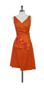 Kenzo short dress Orange Floral Embroidered Wrap on Tradesy